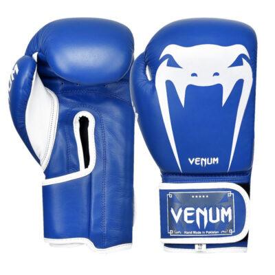 Перчатки боксерские кожаные на липучке Venum GIANT (синий-белый)