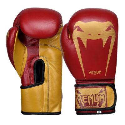 Перчатки боксерские кожаные на липучке Venum GIANT (красно-золотые)