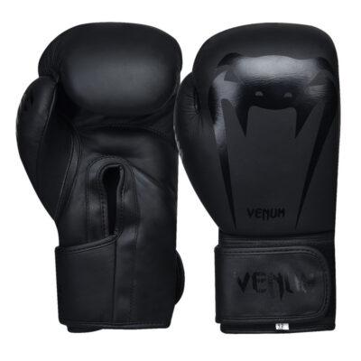 Перчатки боксерские кожаные на липучке Venum GIANT (черные)