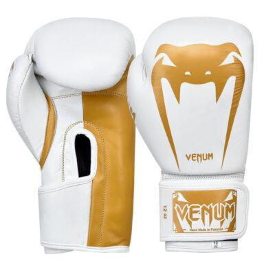 Перчатки боксерские кожаные на липучке Venum GIANT (белый-золотой)