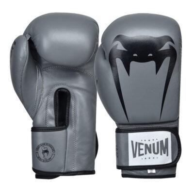 Перчатки боксерские кожаные на липучке Venum GIANT (серый-черный)