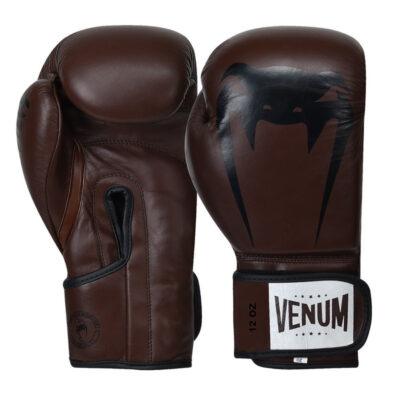 Перчатки боксерские кожаные на липучке Venum GIANT (коричневый-черный)