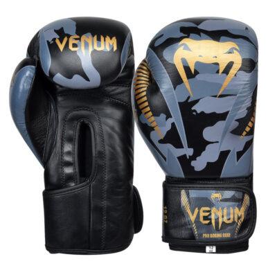 Перчатки боксерские кожаные на липучке Venum GIANT (серый камуфляж)