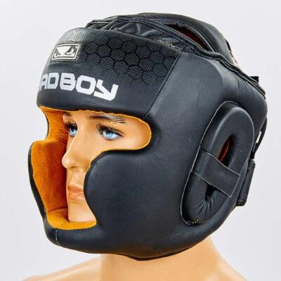 Шлем боксерский с полной защитой кожаный BAD BOY